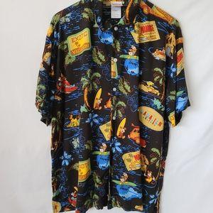 Disney Store Hawaiian design button up polo shirt